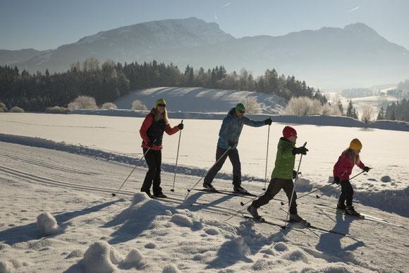 Familie beim klassischen Langlaufen