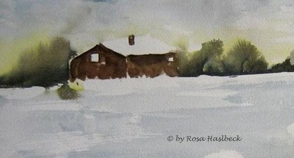 aquarell, landschaft, landschaftsaquarell, haus, bäume, blau, grün,  braun, winter, winterlandschaft, schnee, bild, kunst, bilder, malerei, malen, deko, dekoration, wandbilder, wand, geschenkidee, geschenke,malen, malerei, handgemalt,
