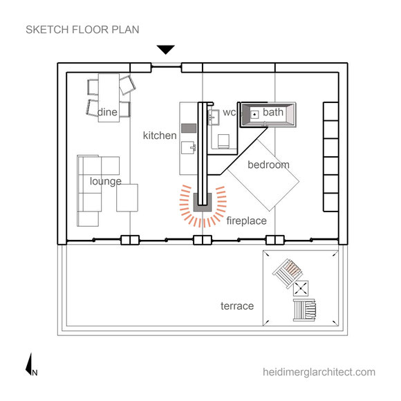 Timber Pre-Fab Home Floor Plan by Heidi Mergl Architect