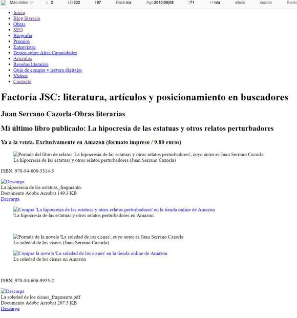 Análisis SEO de una web con Web Developer: Robots. Versión rastreable. Versión en caché.