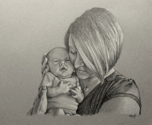 Pencil portrait gallery featuring drawing of mother and child.