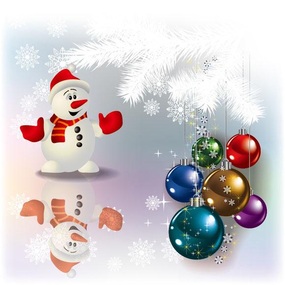 雪だるまとクリスマス ハンギング ボール christmas decorations vector