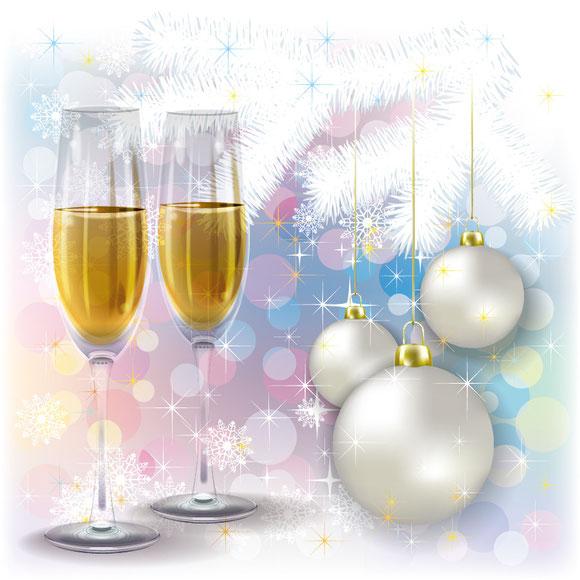 シャンパンとクリスマス飾りの背景 christmas decorations vector