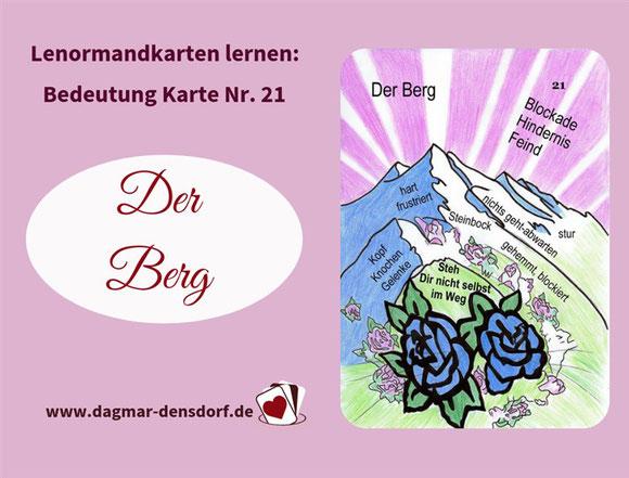 Ankündigung Lernvideo Lenormandkarte der Berg