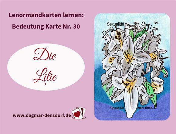 Ankündigung Lernvideo Lenormand Lilie Bedeutung
