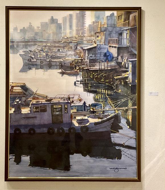 「運河静寂」 F80 水彩画