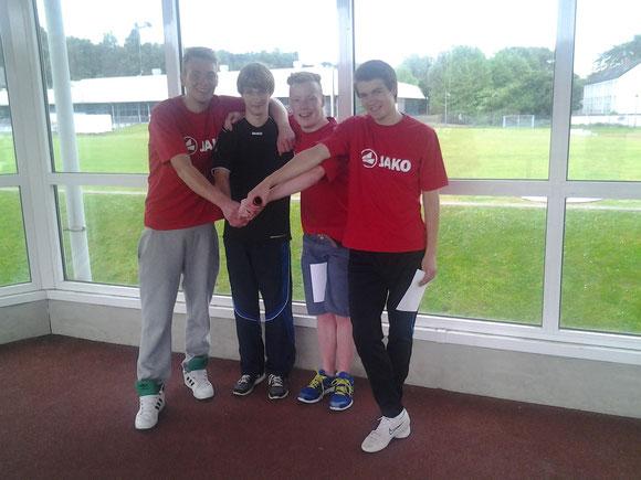 4x100m Staffel mit Felix Becker, Philipp Eßer, Niclas Horn und Raffael Schmidt v. li.n.re.