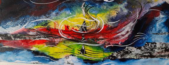 """"""" Boot in stürmischem Wasser """" Collage, Acryltusche, Leinwand"""