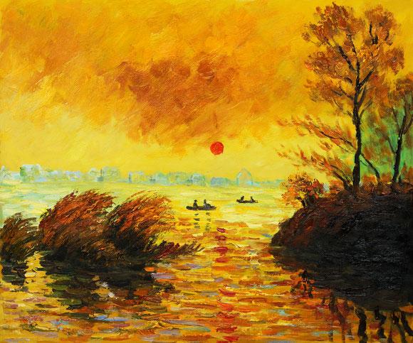 "Claude Monet, ""Tramonto sulla Senna"""