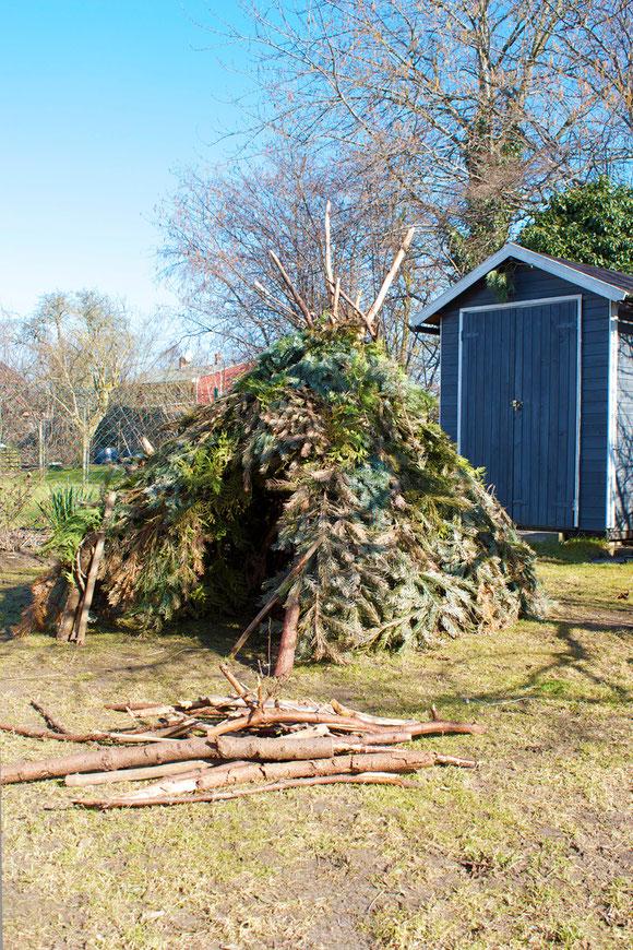 dieartigeBLOG - ein Selbstbauhaus |  das Tipi aus Tannenzweigen