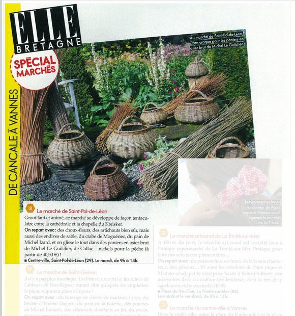 Les paniers de l'Oseraie de Pen ar Hoat dans le magazine ELLE