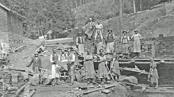 Bau des Turbinenhauses neben dem Lichthäusl (1923, Repros: Ruhland)