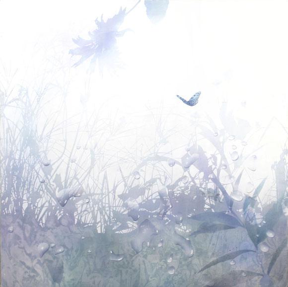 アクリル絵画 透明感 幻想的 植物 水滴 蝶 オオゴマダラ