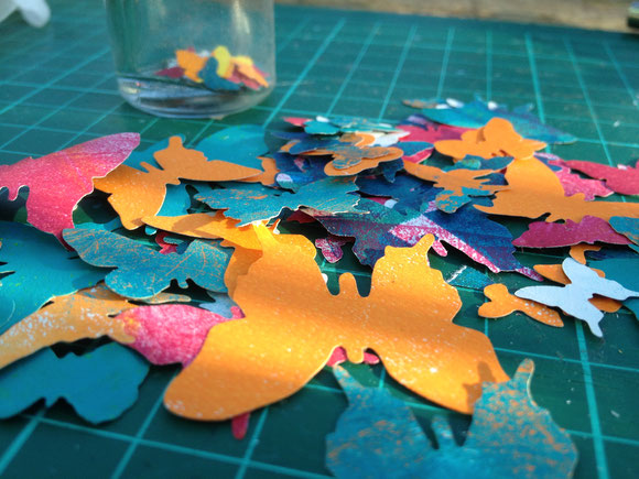 butterflies die cut from left over gelliprinted papers (made with my gelliplate)