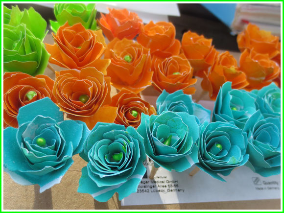 gelliplate, paper, orange, green, blue, paper flowers