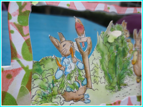 Peter rabbit flying easel card