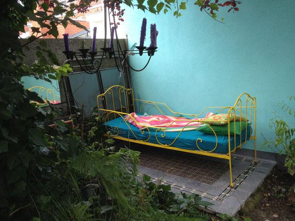 outside bed in my garden