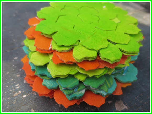 gelliplate, paper, paint, Tim Holtz, die tattered pinecone, yellow, orange, green