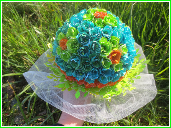 weddingbouquet, paperflowers, gelliplate, monoprinting, blue, green, orange