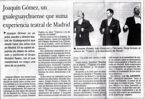 Publicado en el diario El Argentino, de Gualeguaychú en la sección Arte&Cultura el 20/04/12