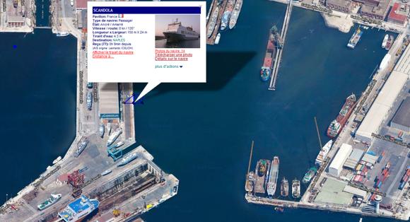 Sur cette capture d'écran du site Marine Trafic on voit la position actuelle du Scandola ainsi que la cale sèche où il se trouvait