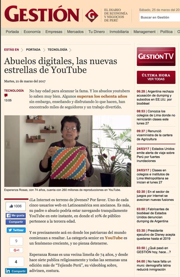 Abuelos digitales - Nota en el diario Gestión Perú