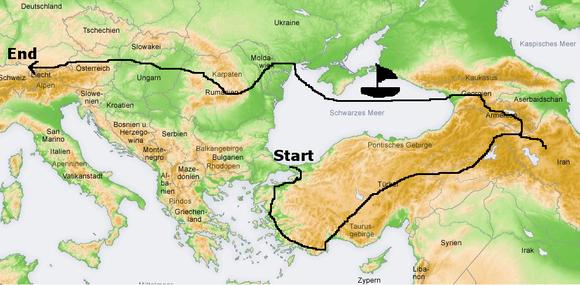 Startpunkt: Türkei, Istanbul. Weiter in Iran, Armenien, Georgien. Mit dem Schiff nach Odessa. Von dort aus planmäßig über Moldawien und Transnistrien nach Rumänien, Ungarn, Slowakei Österreich, Deutschland oder nicht-planmäßig woanders.