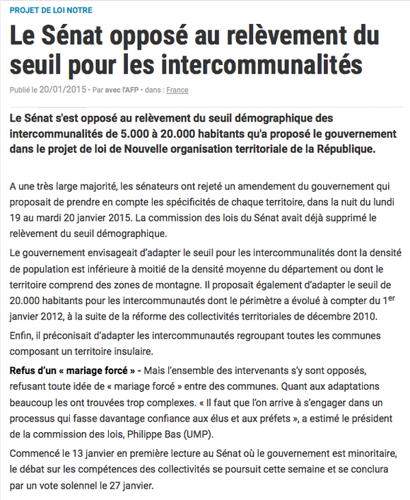 La Gazette des communes, 20/01/2015
