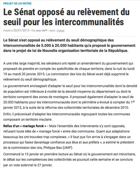 La Gazette des communes, 20/01/2015