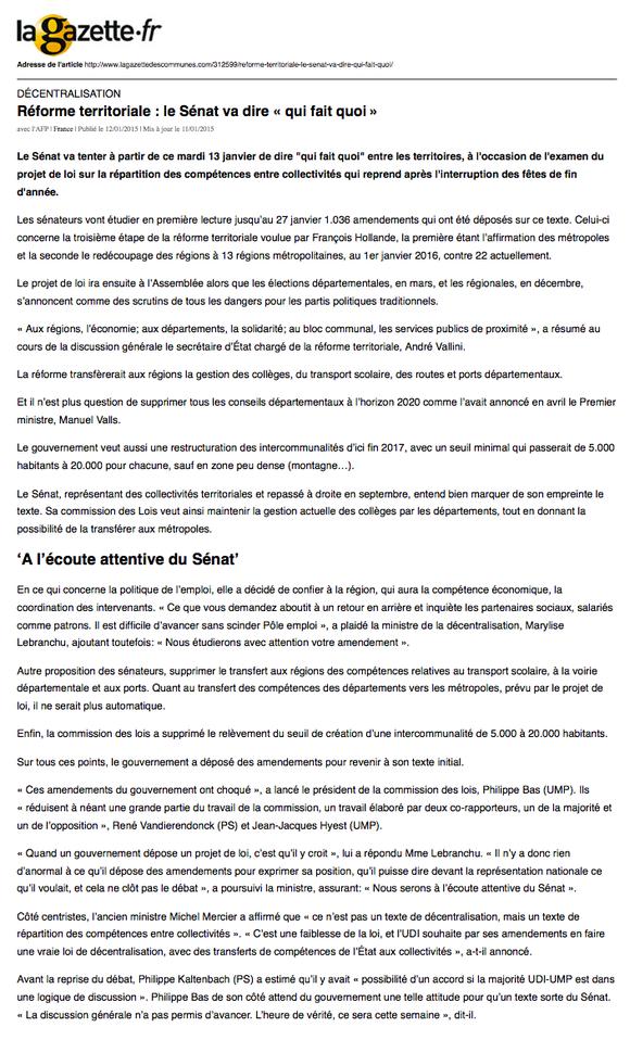 article paru dans la Gazette des communes, 13.01.2015
