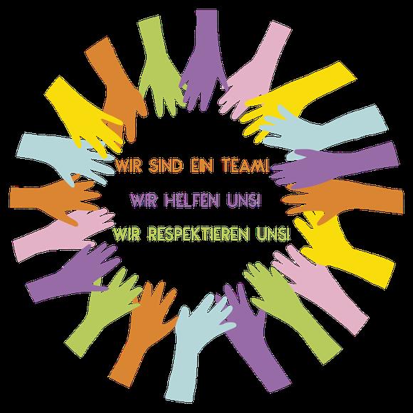 Kinderhände - Wir sind ein Team! Wir helfen uns! Wir respektieren uns!