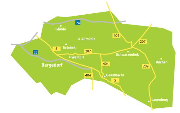 Das Verbreitungsgebiet der Bergedorfer Zeitung