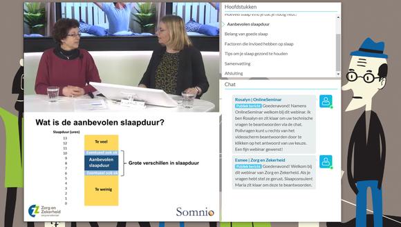 Screenshot van de slaap-webinaar met Somnio slaapexpert dr. Winni Hofman op de Zorg en Zekerheid website