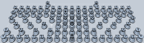 3Dプリントした駒を並べたときの想像図