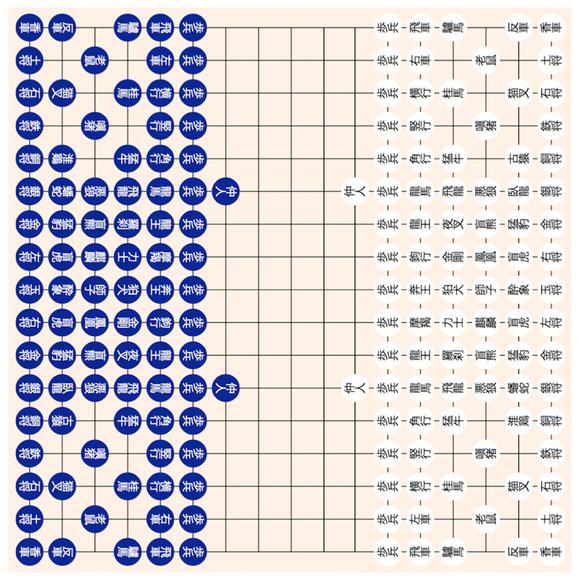 南面 瑠璃石 白碁子 17路盤 原摩訶大将棋