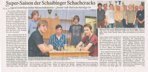 2012, Meister Jugend NBL, Meister Schaibing II in BZL Ost