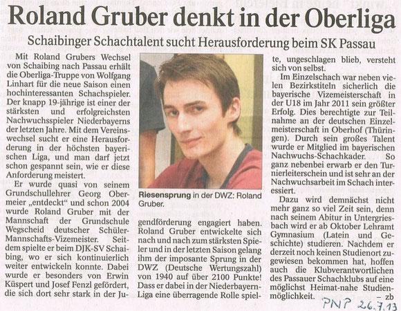 26.07.13, Roland Gruber wird vom Passauer Schachklub der Presse vorgestellt
