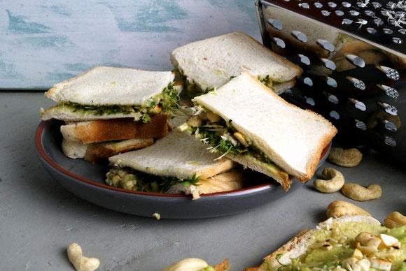 Tramezzini mit Kresse, Avocado und frischem Meerrettich nach einem Rezept von Alexander Herrmann