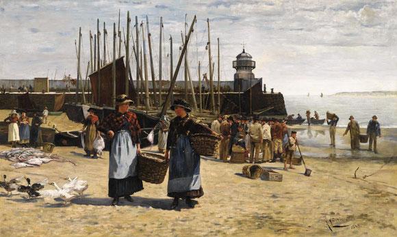 Alberto Ludovici Jnr  'Fish Sale, St Ives'  (1883)