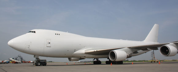 CAL operated 747-400F at Liege Airport  -  photo: hs