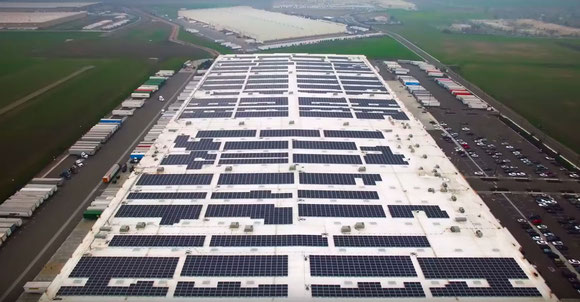 Amazon's fulfilment centres are equipped with solar panels -  courtesy Amazon