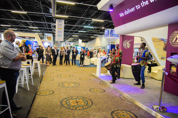 Qatar Airways Cargo's stand at Air Cargo Africa was well attended, as were most of the others  -  courtesy QR