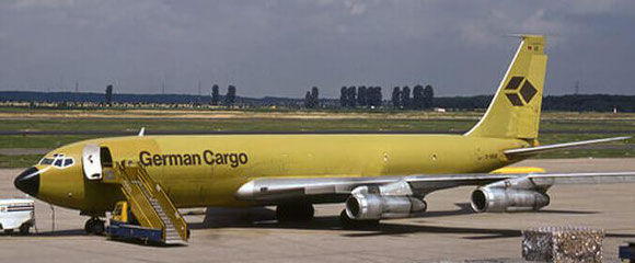 Mustard-colored Boeing 707 freighter of former German Cargo