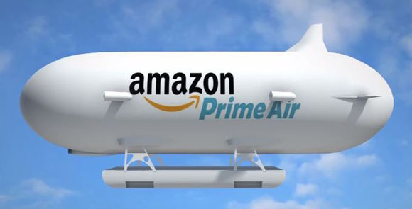 Image of Amazon's patented warehouse to be stationed at altitudes of 13,000 to 14,000 meters above ground  -  company courtesy