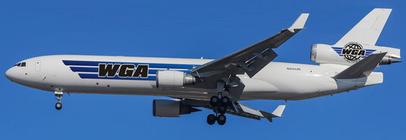 Pictured is one of Western Global's eleven MD-11 freighters  -  credit WGA