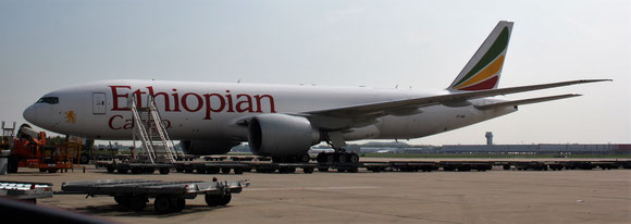 Ethiopian Cargo belongs to the major clients of LGG, seen here is a Boeing 777F  -  photos: hs