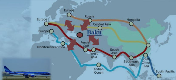 Eurasian transport corridors:  red – Gulf carrier routing  /  brown + yellow – transcontinental railway links  /  blue – ocean