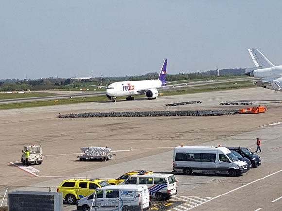 FedEX B777F at Liege. (source: Liege Airport)