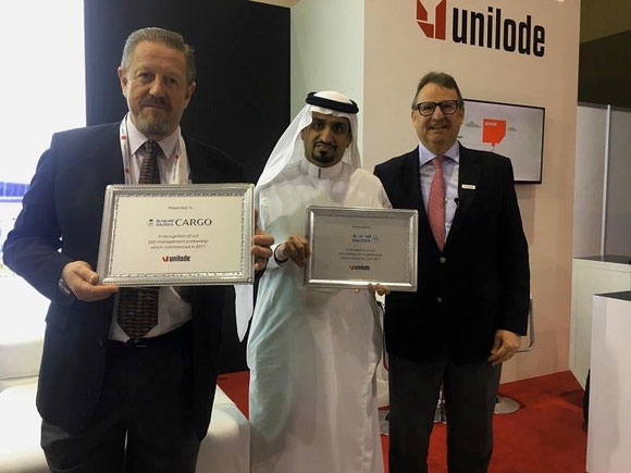 Photo: left to right: Chris Notter, VP Operations Saudia Cargo  /  Nadeem Malibari, Head of Ground Operations Saudia  /  Dr. Ludwig Bertsch, President & CEO Unilode