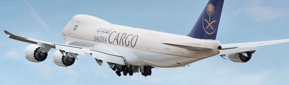 Saudia Cargo Boeing 747 freighter an way from Frankfurt via Jeddah to Johannesburg  -  company courtesy